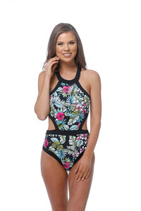 Hawaiian Print Monokini One Piece Swimsuit - Nofashiondeadlines