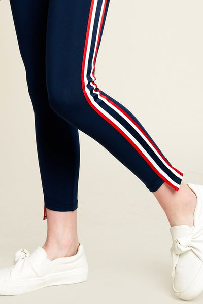 Girls Side Stripe Tape Leggings - Nofashiondeadlines