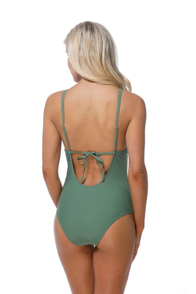 Olive Ruffle Detail Plunging Neckline One Piece Swimsuit - Nofashiondeadlines