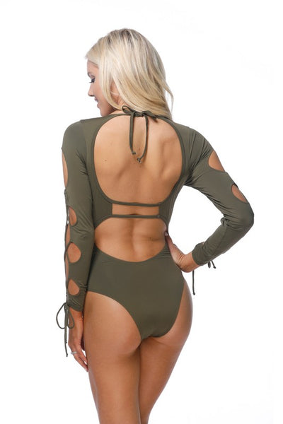 Olive Laced Long Sleeve One Piece Swimsuit - Nofashiondeadlines