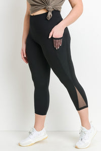 Black High-waist Plus Size Mesh Pocket Full Leggings