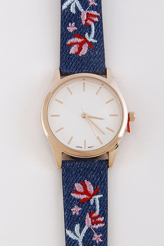 Floral Embroidery Band Fashion Watch - Nofashiondeadlines