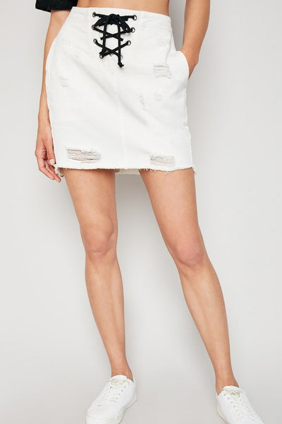 High Waist Laced Detail Denim Skirt - Nofashiondeadlines