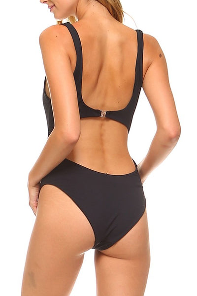 Black Center Cutout One Piece Swimsuit