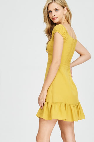 Mustard Ruffle Hem Dress