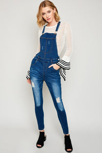 Distressed Denim Overalls - Nofashiondeadlines