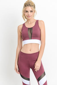 Deep Plum Color-block Band Mesh Sports Bra - Nofashiondeadlines