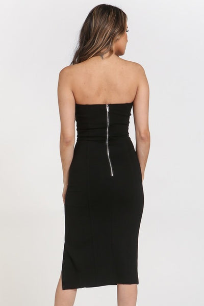 Strapless Side Slit Body-con Dress