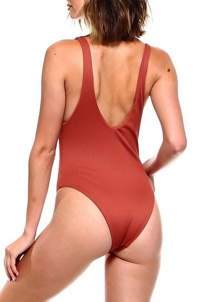 Rust Laced Front One Piece Swimsuit - Nofashiondeadlines