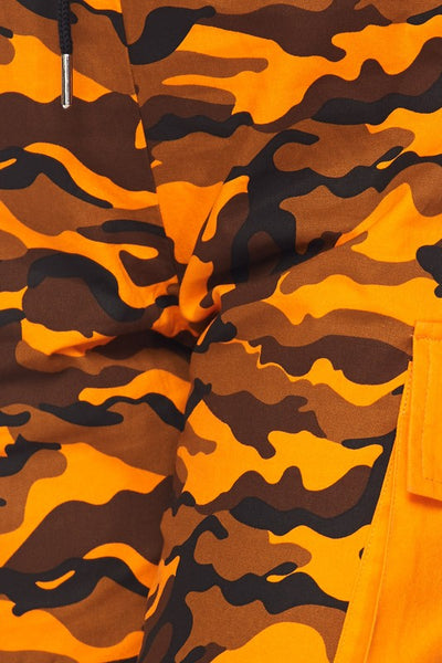 Orange Camo Print Jogger Pants - Nofashiondeadlines