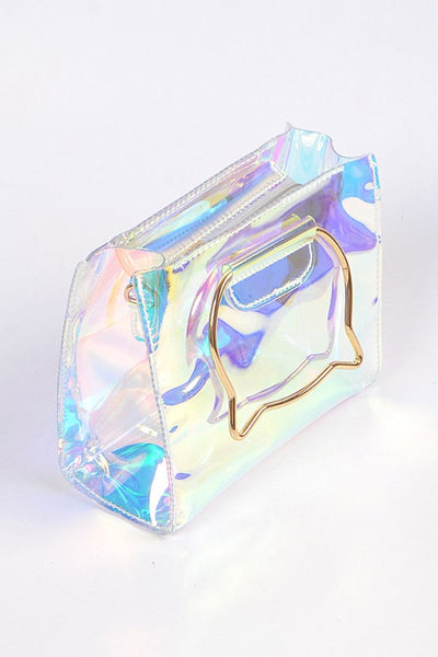 Clear Clutch With Metal Kitty Details - Nofashiondeadlines