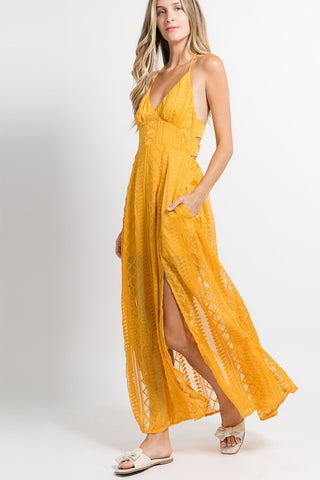 Mustard Lace Style Tie Back Dress