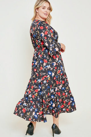 Black Plus Size Floral Bell Sleeve Ruffle Midi Dress