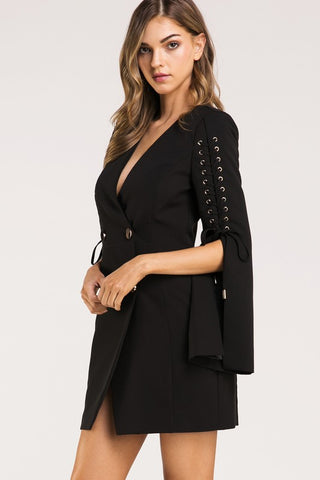 Black Laced Sleeve Blazer Dress