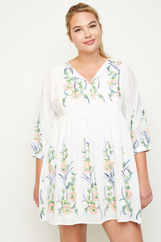 Off White Plus Size Embroidered Floral Dress