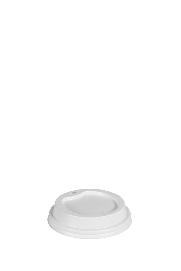 A white, gourmet, 90mm, sip lid that fits 12 to 24 ounce hot, paper cups.
