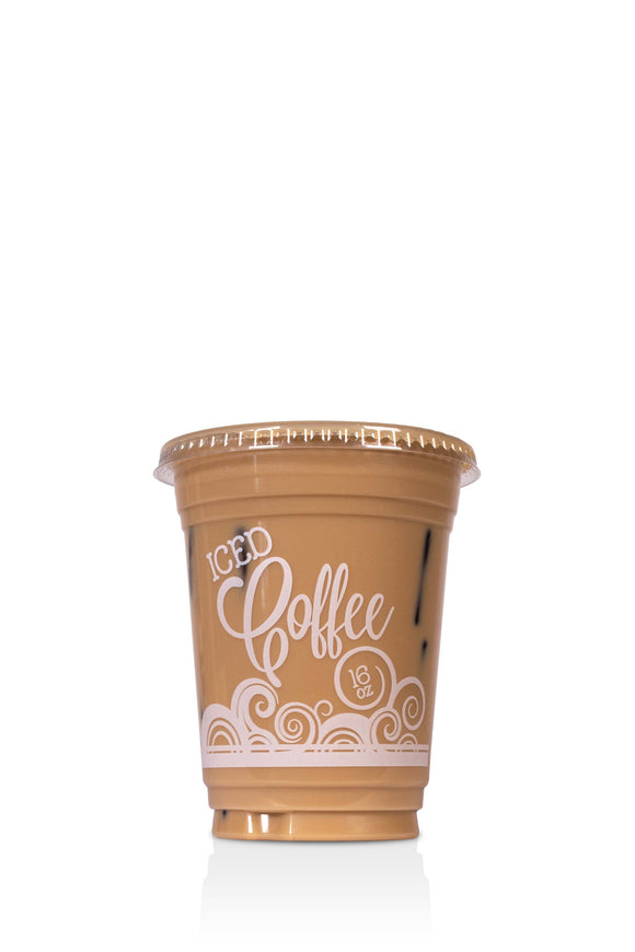 16 ounce, Barista, clear, plastic cups with lids included. These cups have a coffee swirl design and say