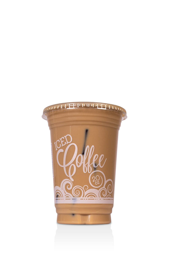 20 ounce, Barista, clear, plastic cups with lids included. These cups have a coffee swirl design and say