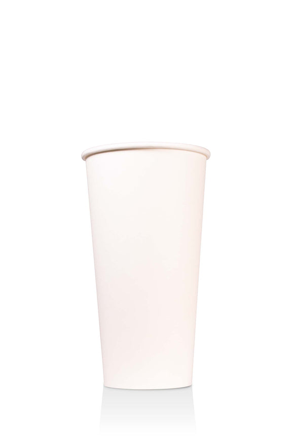 800 bulk pack of 20 ounce, white, paper cups with lids available.