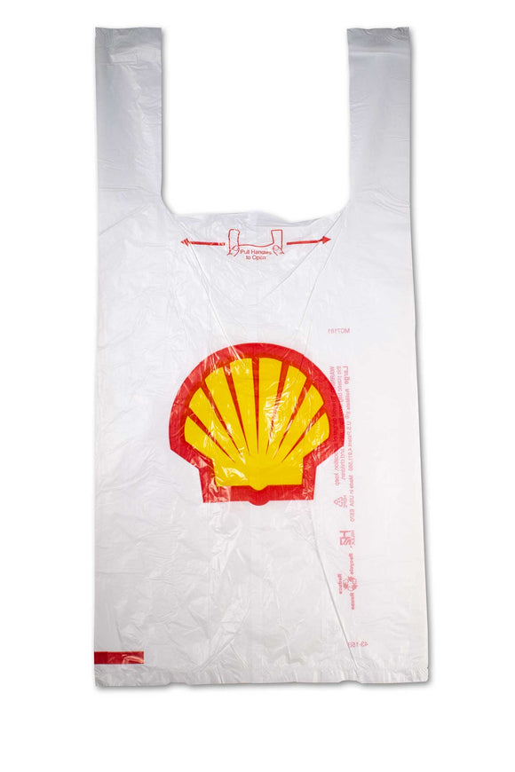 Large, flat, plastic bags with Shell, gas station logo.
