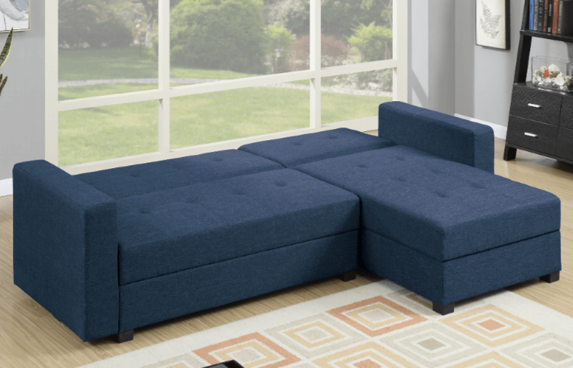 Littlemoor Blue Polyfibre Adj Chaise Sofa Bed From Chaise