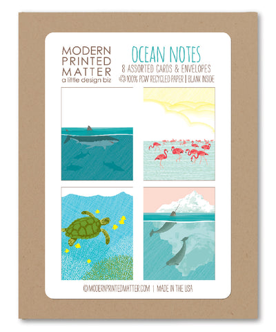 OCEAN ASSORTED BLANK CARDS (BOX OF 8)