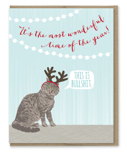 BULLSHIT CAT ANTLERS HOLIDAY CARD