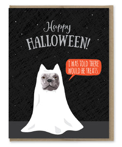 BULLDOG TREATS HALLOWEEN CARD