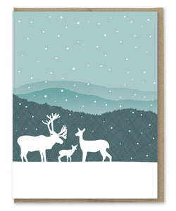DEER FAMILY BLANK CARD