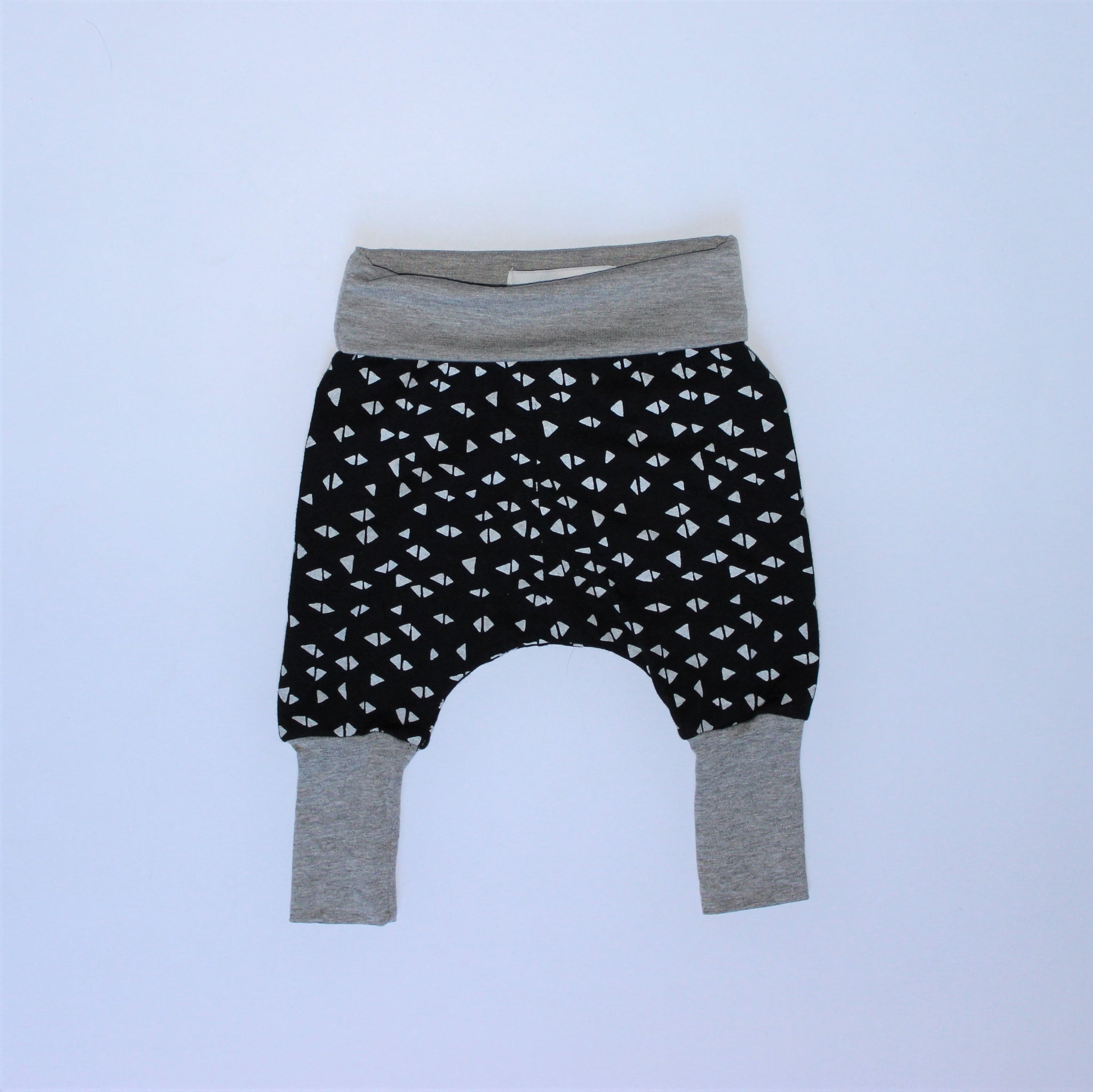 New Born Pants - Triangles, Grey and Black