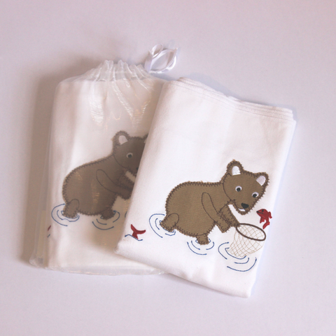 100% Cotton Receiving Blanket - Teddy Fishing