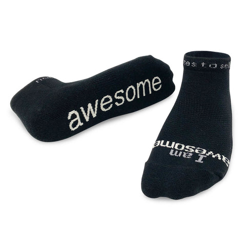 i am awesome black socks with inspirational message