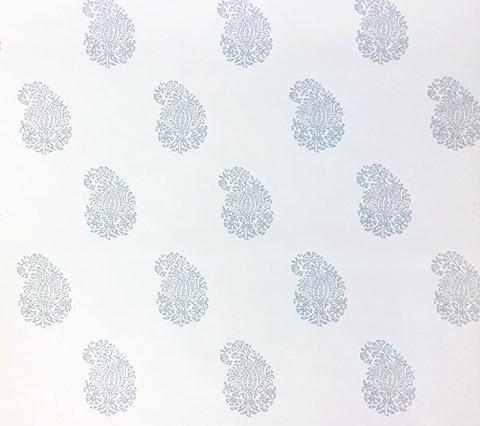 China Seas Wallpaper: Bangalore Paisley - Custom Gray on Almost White Paper