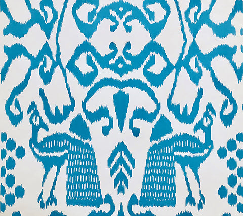 China Seas Wallpaper: Bali Isle - Custom Atlantis Blue on Almost White Paper
