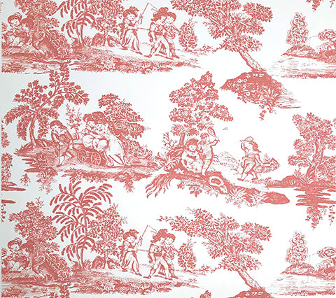 Quadrille Wallpaper: Les Enfants Engraving - Custom Watermelon on White Paper
