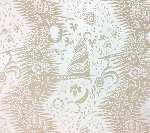 Quadrille Prints: Les Indiennes One Color - Custom White on Vellum Suncloth (Outdoor Quality)