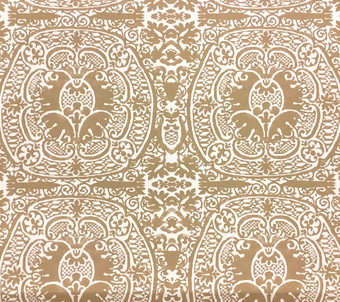 Quadrille Wallpaper: Veneto - Custom Camel on Off White Paper