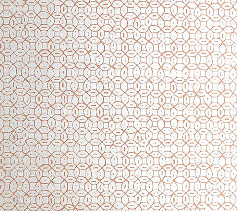 China Seas Wallpaper: Melong Batik - Custom Terracotta on Off White Paper