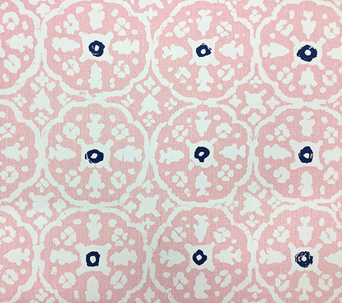 China Seas Wallpaper: Nitik Grande - Custom Soft Pink / Navy on Almost White Paper