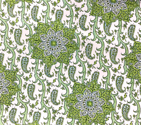 Home Couture: Kashmir Exotique - Custom Multi Greens on Tinted 100% Belgian Linen