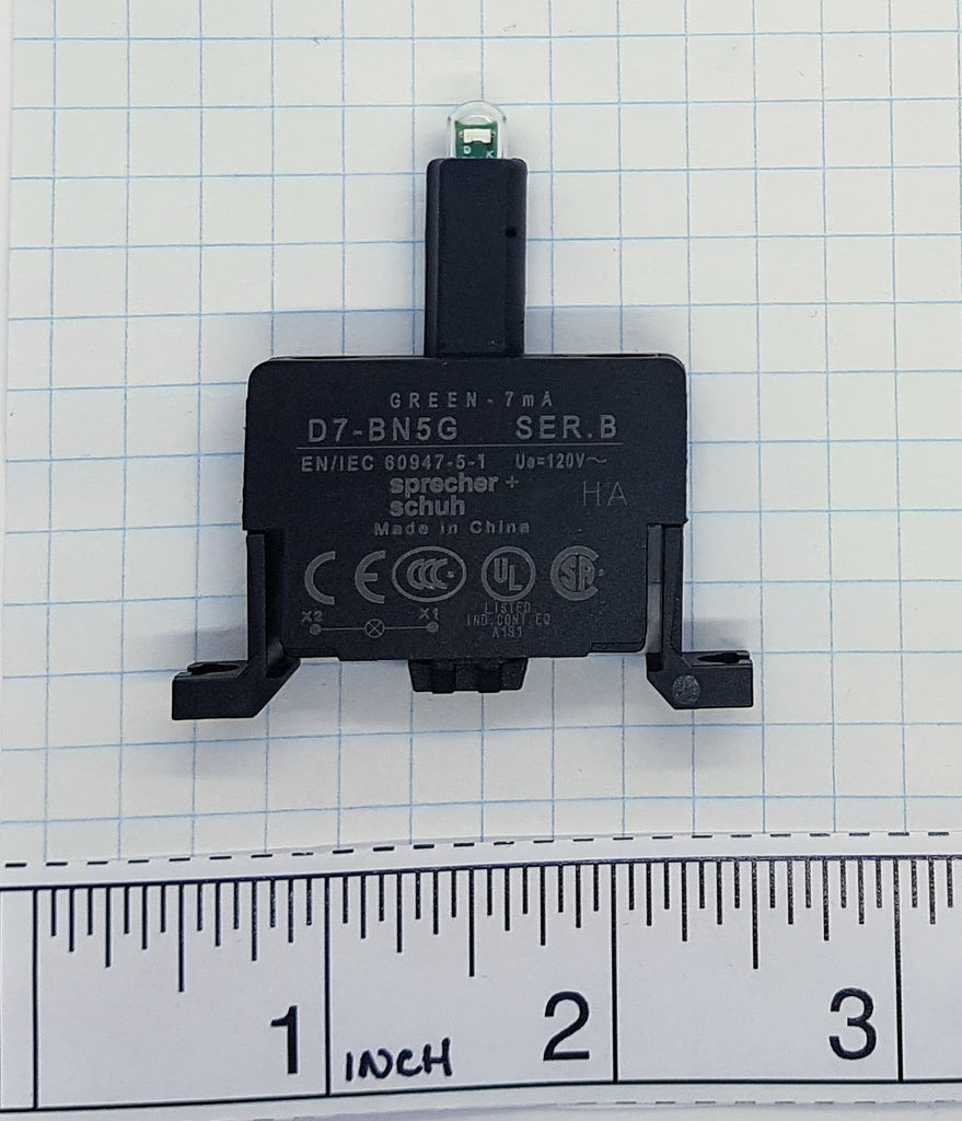 S+S Power Module w/ LED, Green, Base Mount 120v