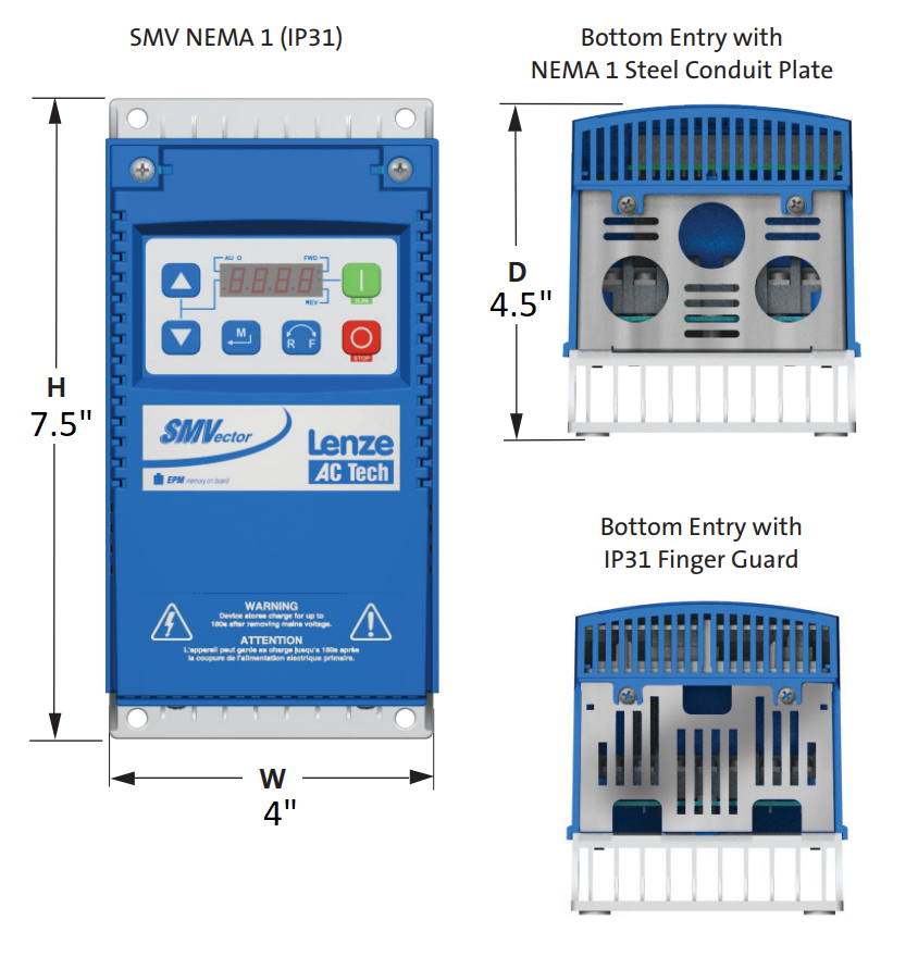 Lenze AC Tech VFD - 1HP - 120v / 240v - Single phase input - NEMA1 Indoor - Variable Frequency Drive