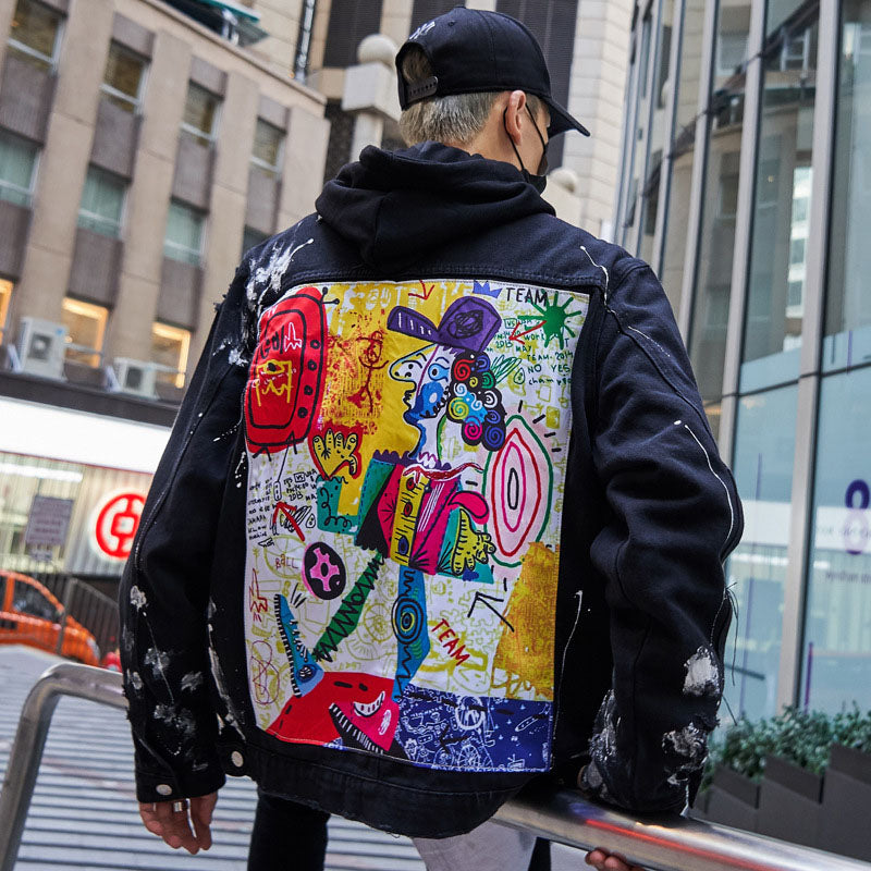 """Abstract"" Denim Jacket"