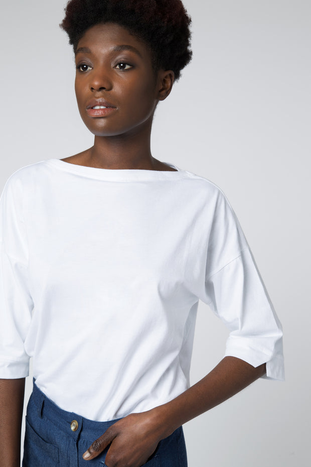 Boat Neck Long Sleeve Top in White