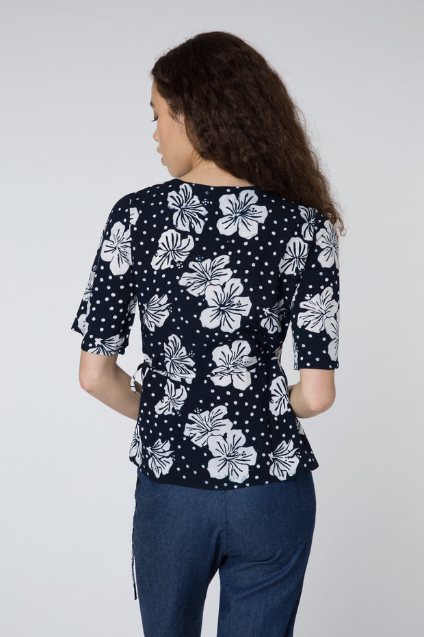 Indi Hawaiian Floral Batik Wrap Top