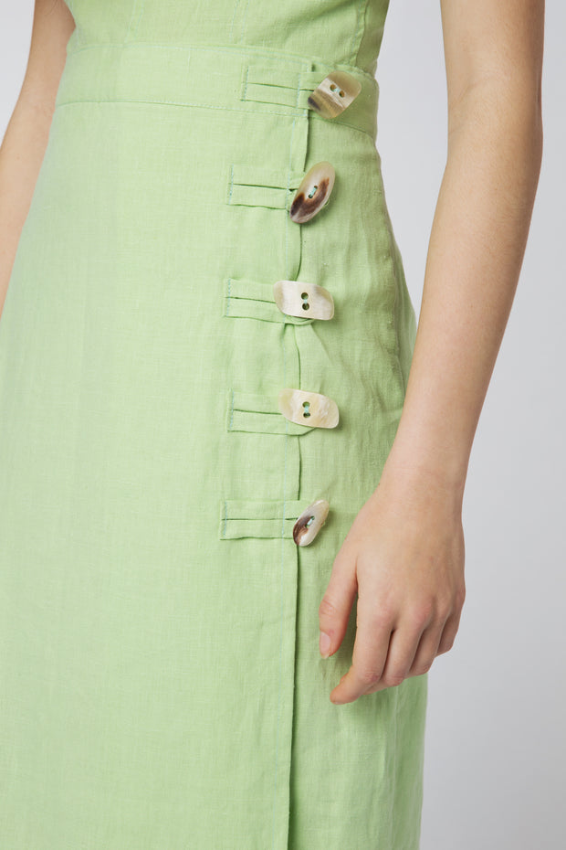 Suki Button Detail Midi Skirt