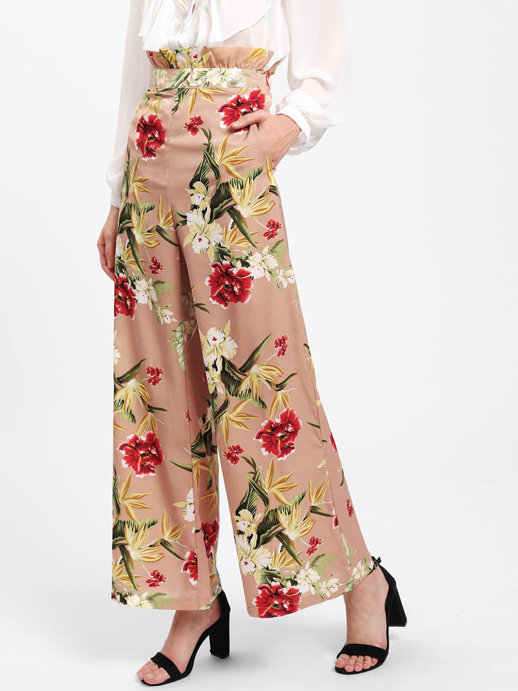Fancy Flower Print Wide Drawstring Long Pants