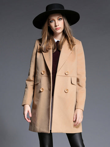 Plain Double Breasted Trench Coat