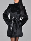 Black Faux Fur With Belts Coat