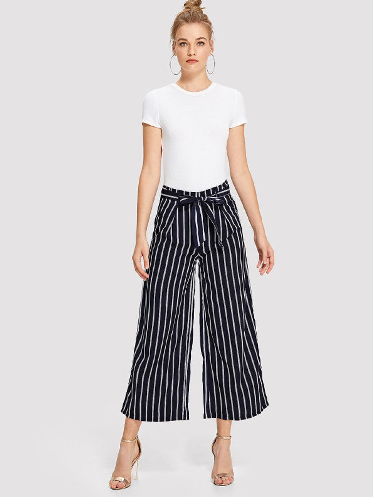 Striped Belt Wide-Leg Pants